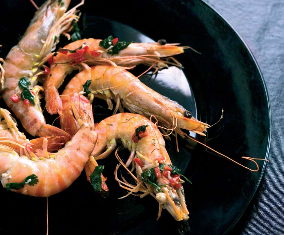 Grilled Prawns With Chili Butter, Lime And Fresh Coriander
