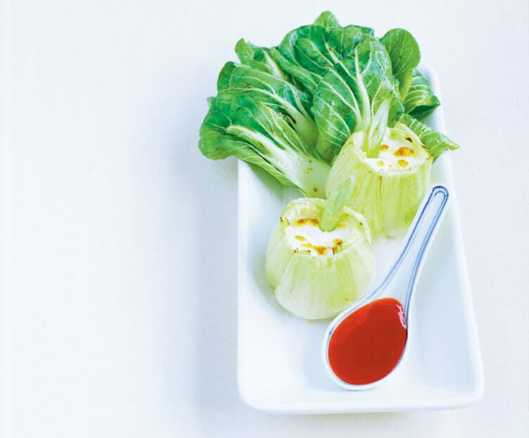 Pak Choi Stuffed With Goat Cheese, Sweet And Sour Sauce