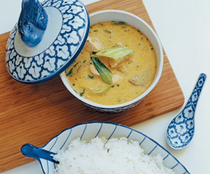 Red Thai Curry With Chicken, Bok Choi And Jasmin Rice